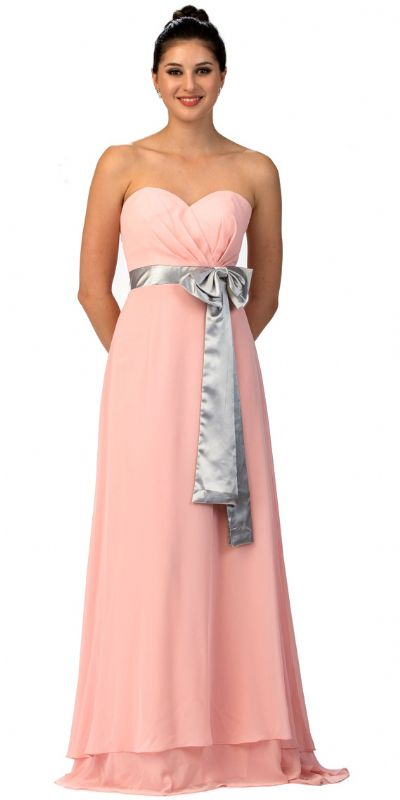 Strapless Bow Accent Long Formal Bridesmaid Dress