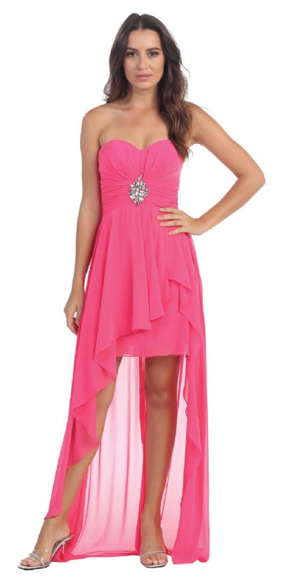 Strapless Hi-Low Overlay Short Formal Party Dress