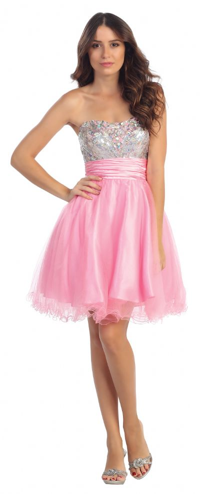 Strapless Sequins Bust Tulle Short Party Prom Dress