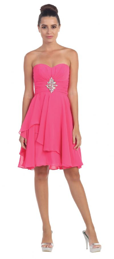 Strapless Ruched Short Formal Bridesmaid Party Dress
