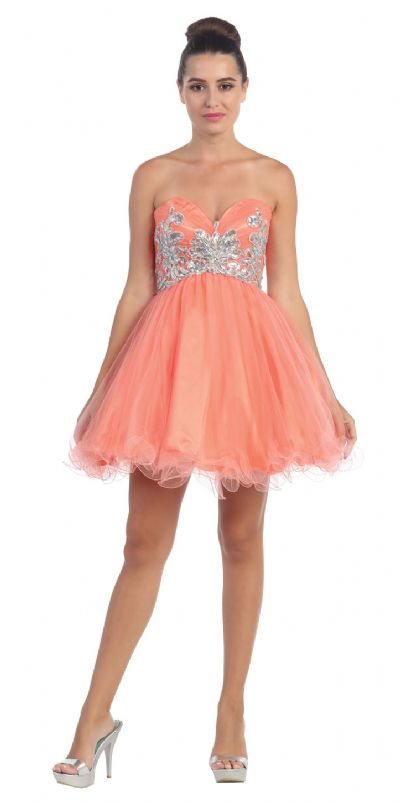 Strapless Floral Beaded Bust Short Tulle Party Prom Dress