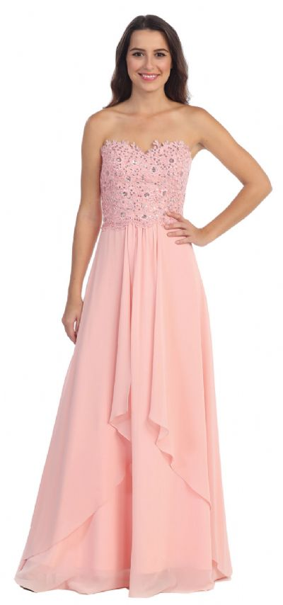 Strapless Lace Beaded Bodice Long Formal Bridesmaid Dress