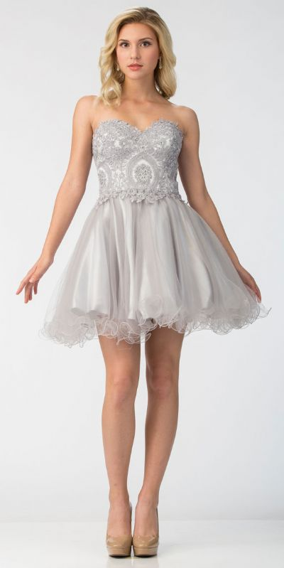 Strapless Beaded Lace Top Tulle Short Homecoming Dress