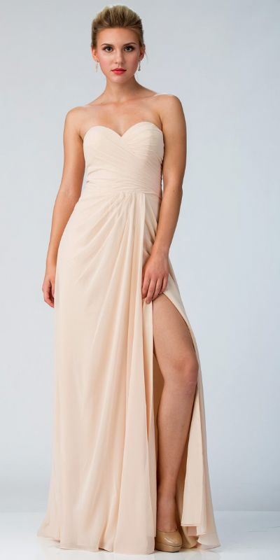 Strapless Pleated Overlap Bust Long Bridesmaid Dress
