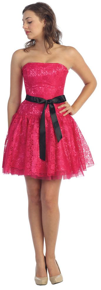 Strapless Short Prom & Party Dress in Lace with Belt