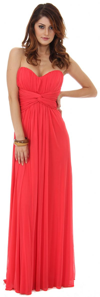 Strapless Twist Knot Waist Ruched Long Bridesmaid Dress