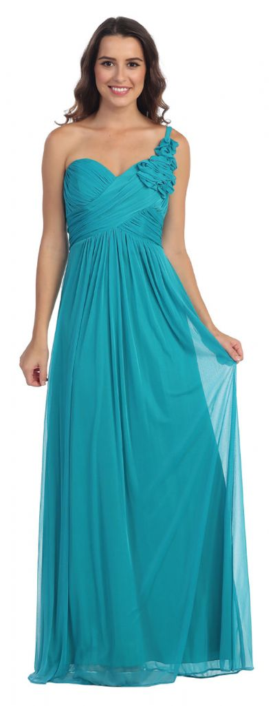 One Shoulder Ruched Bust Long Formal Bridesmaid Dress