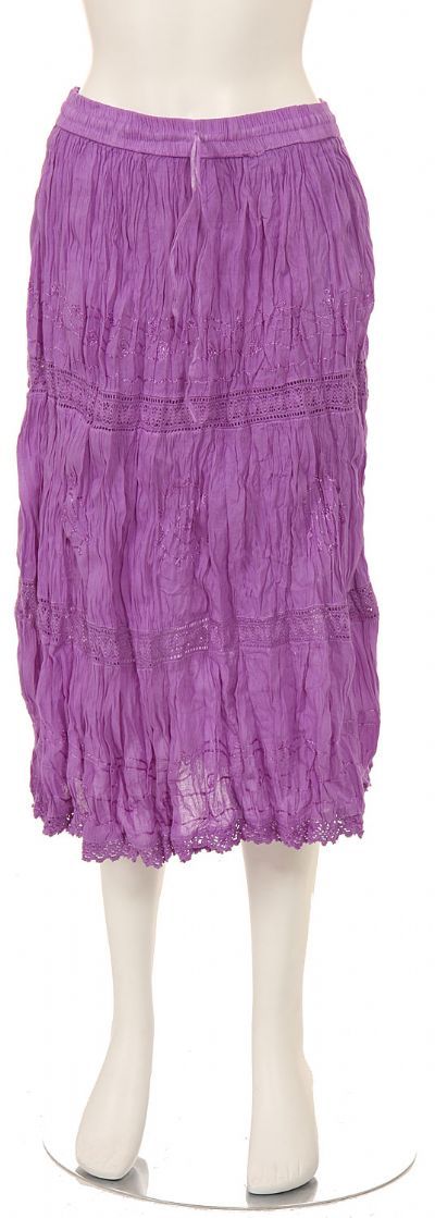 Knee Length Crinkled Lilac Skirt
