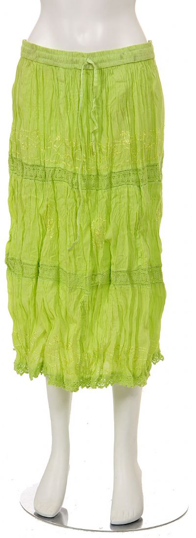 Knee Length Crinkled Lime Green Skirt