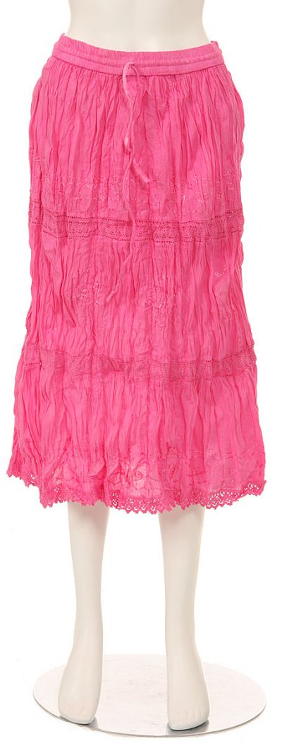 Knee Length Crinkled Pink Skirt