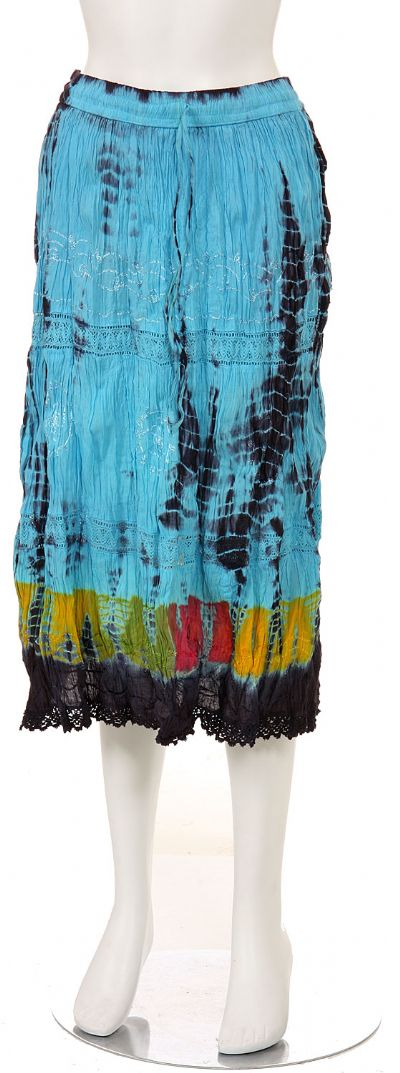 Tie & Dye Crinkled Aqua Multi Skirt
