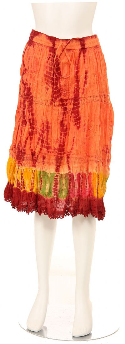 Tie & Dye Crinkled Orange Skirt