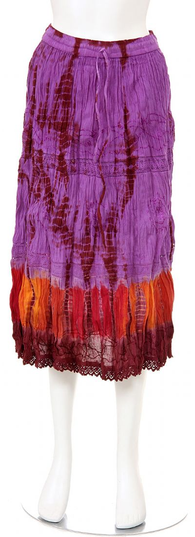 Tie & Dye Crinkled Purple Multi Skirt