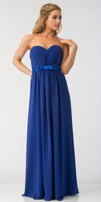 Strapless Pleated Bust Bow Waist Long Bridesmaid Dress