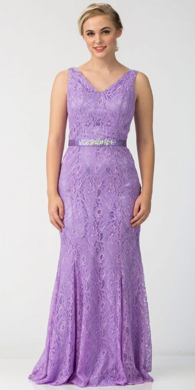 Floral Lace V-Neck Floor Length Formal Bridesmaid Dress