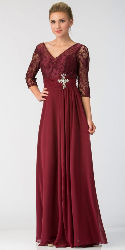 V-Neck Sheer Sleeves Floral Lace Bust Long Formal MOB Dress
