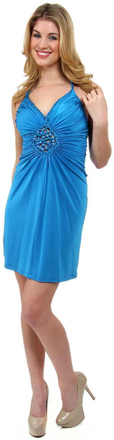 Halter Neck Party Dress with Front Keyhole