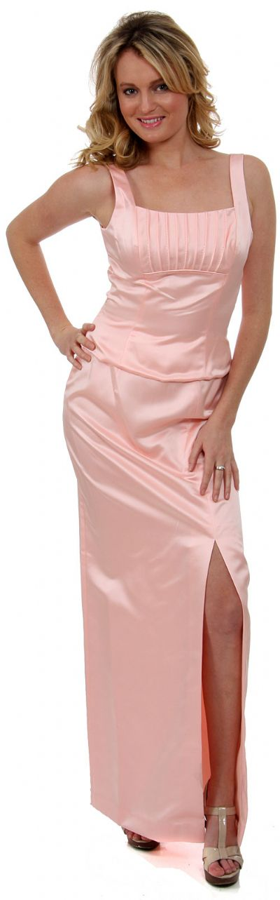 Satin Beaded Full Length Bridesmaid Dress