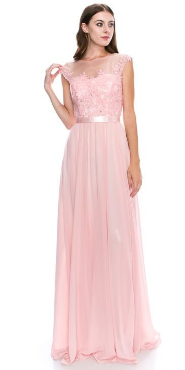 Round Neck Embroidered Lace Mesh Top Long Prom Dress