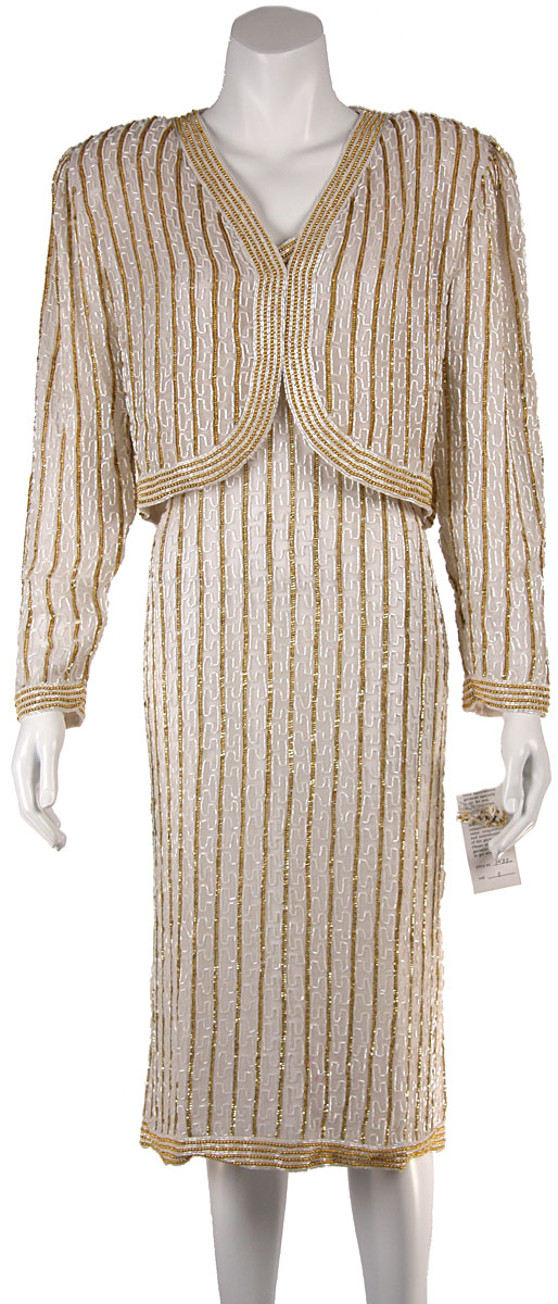 Fully beaded Tea Length Cocktail Dress with Jacket
