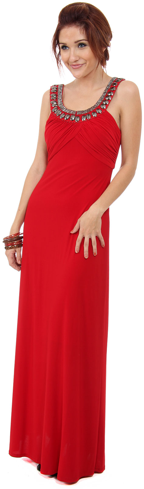 Embellished Neckline Formal Long Dress