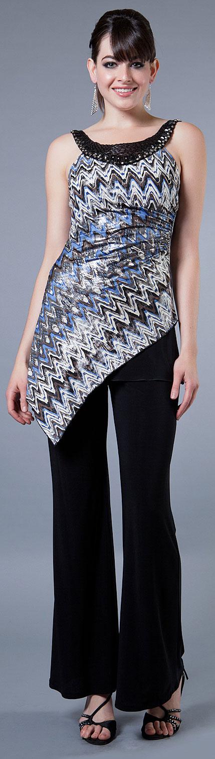 Asymmetric 2 Piece Pant Dress