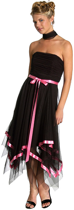 Net and Bow Shirred Evening Dress