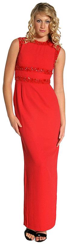 Belted Design Sleeveless Formal Dress