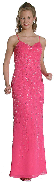 Fully Beaded Spaghetti Strapped Evening Prom Dress