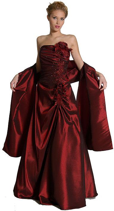 Taffeta Prom Dress with Flower Applique