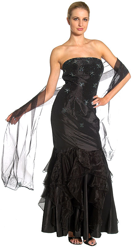 Beaded Mermaid Cut Style and Ruffled Prom Dress