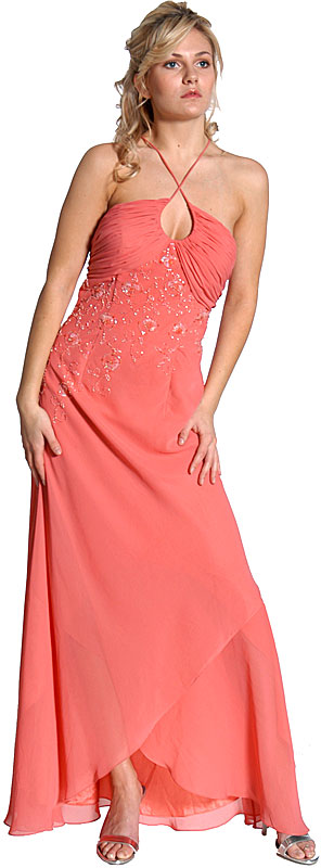 Keyholed Beaded Criss crossed  Prom Dress