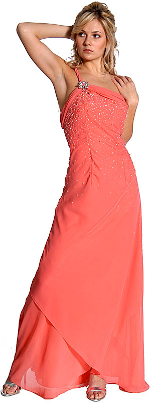 Single Shouldered and Brooched Prom Dress