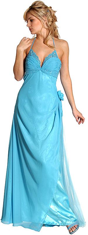 Single Flower Beaded Formal Prom Dress