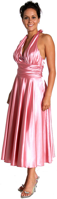 Halter Neck and Waisted Tea Length Formal Dress