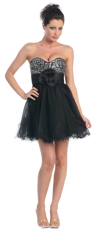 Strapless Flowered Waistline Sequin Party Dress. p8000