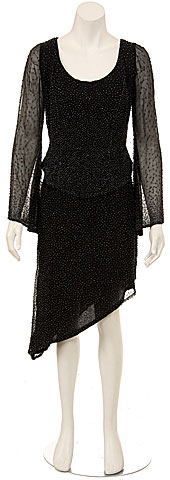 Round Neck Full Sleeves 2-Piece Beaded Cocktail Dress . 0052.