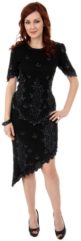 Half Sleeves Short Two Piece Formal Beaded Dress. 0055.