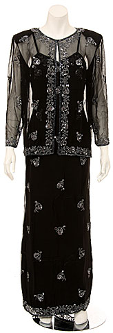 Two Piece Full Length Spaghetti Evening Gown and Jacket. 0062.
