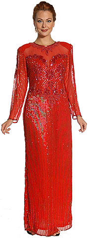 See Thru Bodice and Long Sleeved Beaded Dress. 07446.