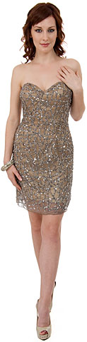 Strapless Sequined Short Prom & Party Dress.