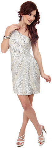 Metallic Tones One Shoulder Sequins Short Party Dress. 10113.