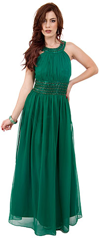 Roman Empire Long Prom Dress with Beaded Straps & Waist. 10116.