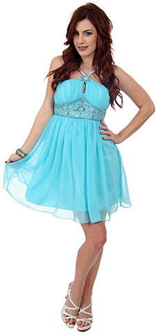 Halter Neck Shirred & Beaded Short Party Dress . 10118.