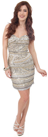 Strapless Sequined Short Prom Dress with Artistic Pattern. 10119.