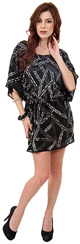 Loose Fit Mini Beaded Party Dress with Elastic Waist. 10122.