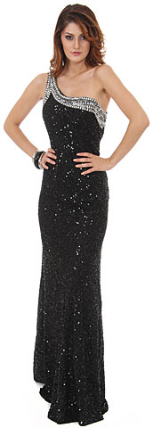 One Shoulder Seuiqned Long Sequin Formal Dress with Studs. 10132.