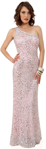 One Shoulder Bare Back Sequined Long Sequin Formal Dress. 10132.