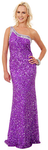 One Shoulder Bare Back Sequined Long Formal Prom Dress. 10132.