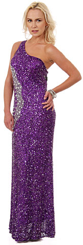 Long Sequined Prom Dress with Rhinestones Waist. 10139.